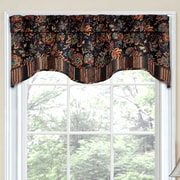 Traditions by Waverly Navarra Floral 52'' Curtain Valance; Onyx