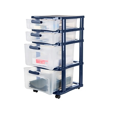 4 Drawer Wide Locking Chest, Navy Frame with Clear Drawers and Navy Locks