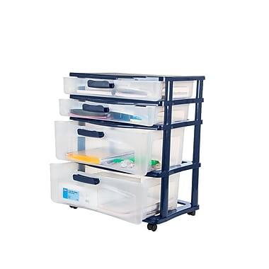 Bella – Unité de rangement moyenne verrouillable, quatre tiroirs, structure et verrous bleu marine, tiroirs transparents