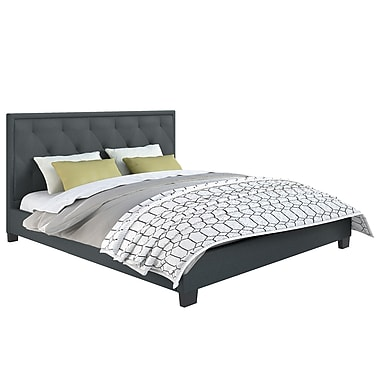 CorLiving™ BFF-565-K Fairfield Diamond Tufted Blue Grey Upholstered King Bed