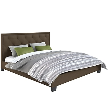 CorLiving™ BFF-585-K Fairfield Diamond Tufted Brown Upholstered King Bed