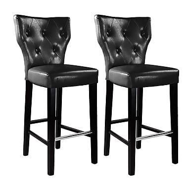 CorLiving™ DAD-709-B Kings Bar Height Barstool, Black Bonded Leather, Set of 2