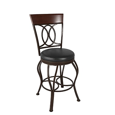 CorLiving™ DJS-224-B Jericho Metal Counter Height Barstool, Dark Brown Bonded Leather Seat
