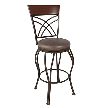 CorLiving™ DJS-323-B Jericho Metal Bar Height Barstool, Rustic Brown Bonded Leather Seat