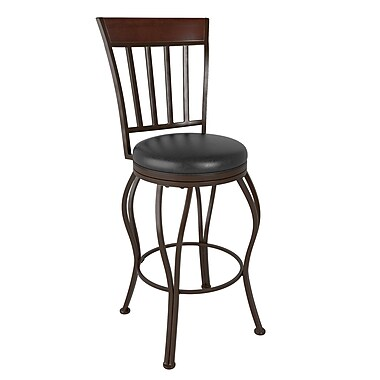CorLiving™ DJS-423-B Jericho Metal Bar Height Barstool, Glossy Dark Brown Bonded Leather Seat
