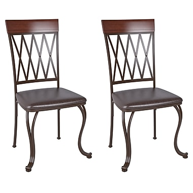 CorLiving™ DJS-479-C Jericho Metal Dining Chair with Dark Brown Bonded Leather Seats, Set of 2