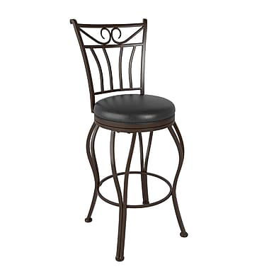 CorLiving™ DJS-923-B Jericho Metal Counter Height Barstool, Glossy Dark Brown Bonded Leather Seat