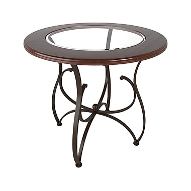 CorLiving™ DJS-923-T Jericho Warm Stained Wood and Glass Bistro Table