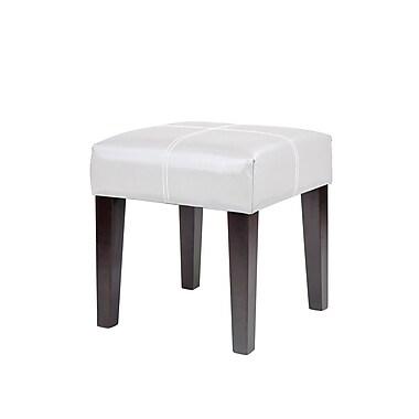 CorLivingMC – Banc carré de 16 po Antonio LAD-219-O, cuir reconstitué blanc