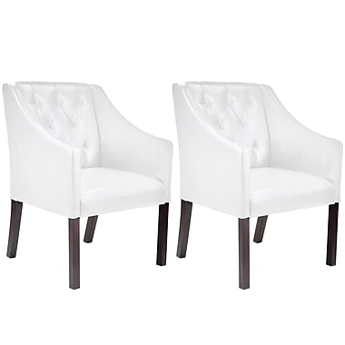 CorLiving™ LAD-618-C Antonio Accent Club Chair, White Bonded Leather, Set of 2