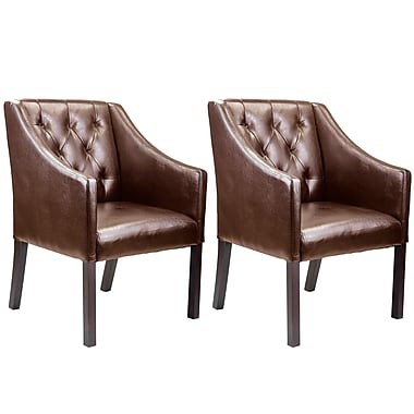 CorLiving™ LAD-628-C Antonio Accent Club Chair, Brown Bonded Leather, Set of 2