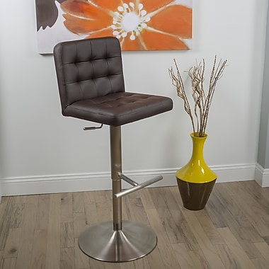Matrix Dexter Adjustable Height Swivel Bar Stool with Cushion; Dark Brown