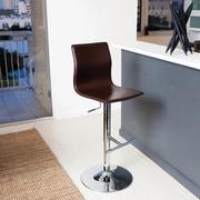 Matrix Klub Adjustable Height Swivel Bar Stool with Cushion; Brown