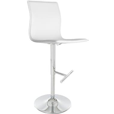 Matrix Klub Adjustable Height Swivel Bar Stool with Cushion; White