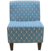 Fox Hill Trading Penelope Armless Curt Medallion Slipper Chair; Blue