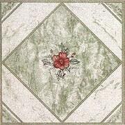 Home Dynamix 12'' x 12'' Luxury Vinyl Tile in Light Green/ Red Flower