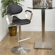 Matrix Jaylo Adjustable Height Swivel Bar Stool with Cushion; Black