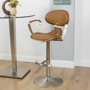 Matrix Jaylo Adjustable Height Swivel Bar Stool with Cushion; Camel