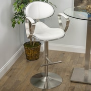 Matrix Jaylo Adjustable Height Swivel Bar Stool with Cushion; White