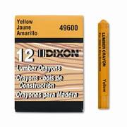 DIXON TICONDEROGA CO. Lumber Crayon, Permanent, Yellow, 12 per pack