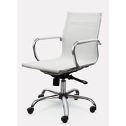 Winport Industries Mid-Back Mesh Synthetic Eco-Leather Conference Chair; White