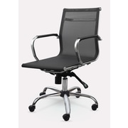 Winport Industries Mid-Back Mesh Synthetic Eco-Leather Conference Chair; Black