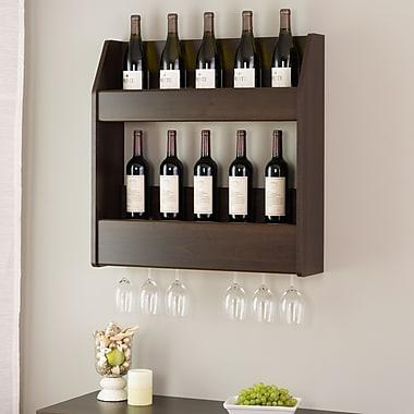 Prepac™ 2-Tier Floating Wine and Liquor Rack, Espresso