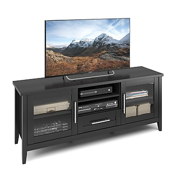CorLiving™ TJK-603-B Jackson TV Bench, Black Wood Grain Finish for TVs up to 65