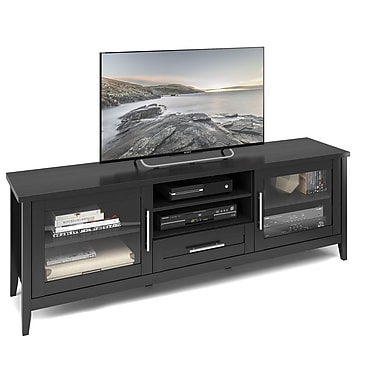 CorLiving™ TJK-604-B Jackson Extra Wide TV Bench, Black Wood Grain Finish for TVs up to 80
