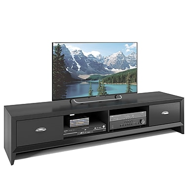 CorLiving™ TLK-802-B Lakewood Extra Wide TV Bench, Black Wood Grain Finish for TVs up to 80