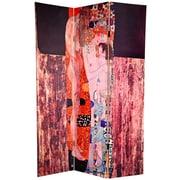 Oriental Furniture 72'' x 48'' Double Sided Works of Klimt 3 Panel Room Divider