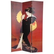 Oriental Furniture 72'' x 48'' Double Sided Japanese Ladies 3 Panel Room Divider