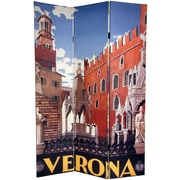 Oriental Furniture 72'' x 48'' Double Sided Capri / Verona 3 Panel Room Divider