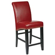 OSP Designs Metro 24'' Bar Stool with Cushion; Crimson Red