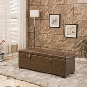 Bellasario Collection Luxury Comfort Classic Buckled Storage Ottoman; Espresso