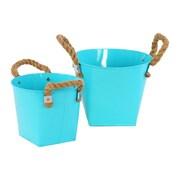 Urban Trends 2 Piece Zinc Round Bucket Set; Light Blue