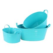 Urban Trends 3 Piece Zinc Oval Bucket Set; Light Blue
