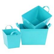 Urban Trends 3 Piece Zinc Rectangle Bucket Set; Light Blue