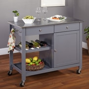 TMS Columbus Kitchen Island with Stainless Steel Top