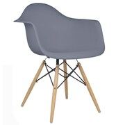 eModern Decor Mid Century Modern Scandinavian Arm Chair; Dark Gray