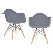 eModern Decor Mid Century Modern Scandinavian Arm Chair (Set of 2); Dark Gray