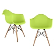 eModern Decor Mid Century Modern Scandinavian Arm Chair (Set of 2); Green