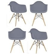 eModern Decor Mid Century Modern Scandinavian Arm Chair (Set of 4); Dark Gray
