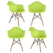eModern Decor Mid Century Modern Scandinavian Arm Chair (Set of 4); Green