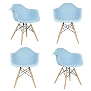 eModern Decor Mid Century Modern Scandinavian Arm Chair (Set of 4); Light Blue