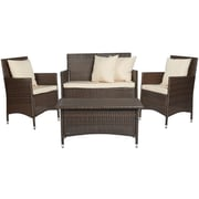 Handy Living Nathaniel 4 Piece Deep Seating Group with Cushion; Sandy Brown
