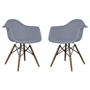 eModern Decor Scandinavian Arm Chair (Set of 2); Dark Gray
