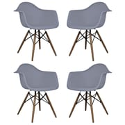 eModern Decor Scandinavian Arm Chair (Set of 4); Dark Gray