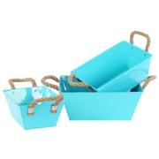 Urban Trends 3 Piece Zinc Rectangular Bucket Set; Light Blue