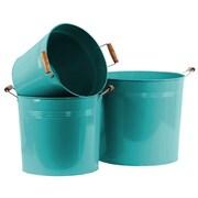 Urban Trends 3 Piece Metal Round Bucket Set; Blue